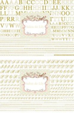 画像1: A4サイズ2枚☆メタリックゴールド転写紙☆アルファベット(オールドレイver)